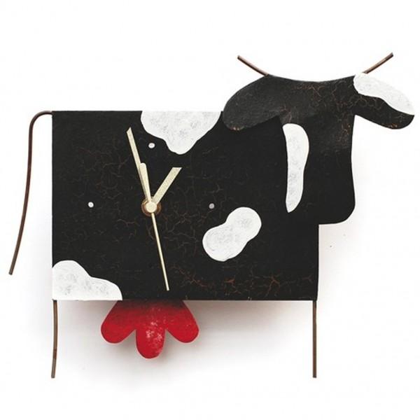 Wanduhr Kuh, schwarz mit Flecken