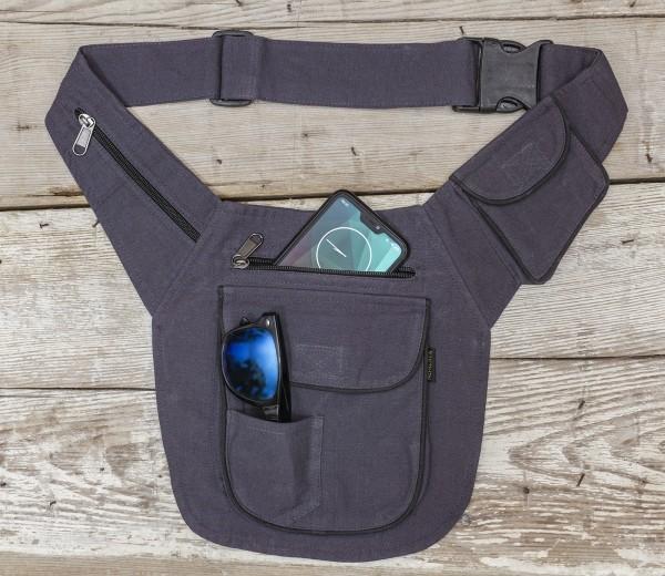 Hüft- oder Schultertasche Baumwolle, grau-blau