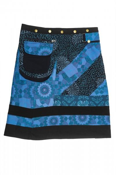 Wickelrock mit Muster blau