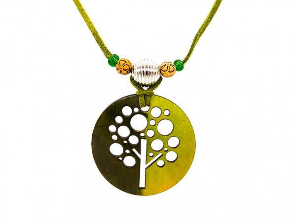 """Halskette """"Tree"""" , grün mit Perlen"""