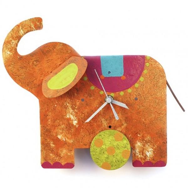 Wanduhr Elefant, orange mit Sattel bunt