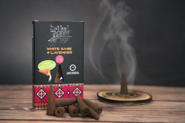 Tribal Soul Rückfluss Jumbo Räucherkegel, Weißer Salbei + Lavendel