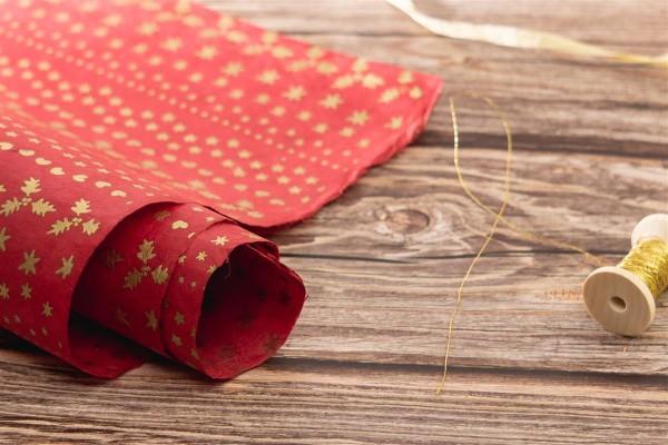 handgeschöpftes Geschenkpapier, Noel rot-gold