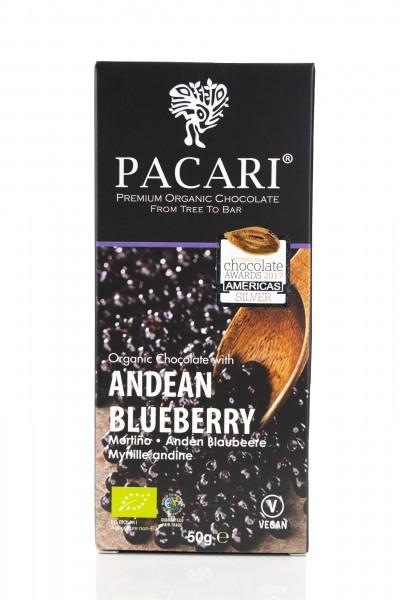 Pacari Bio Schokolade Anden Blaubeere, 50g