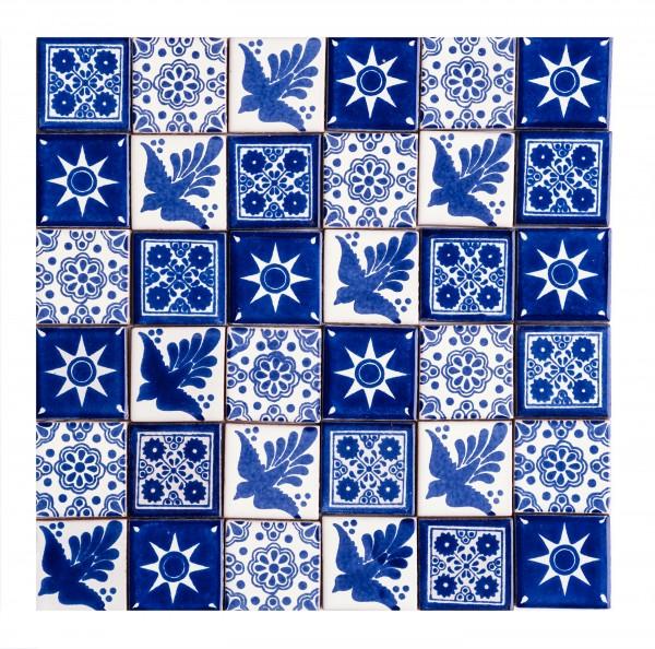 Fliesen Set 5x5cm 36 Stück, blau-weiß