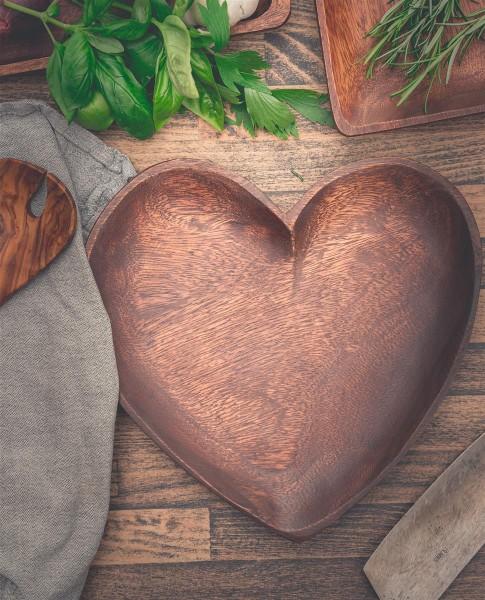 Holzschale in Herzform, 25x3cm