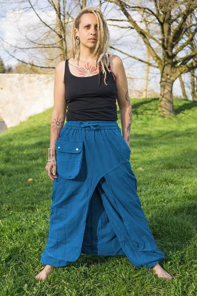 Hose mit Überrock, blau