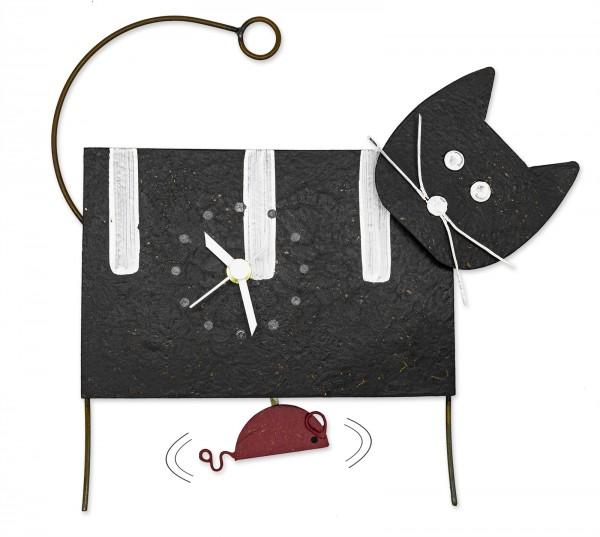 Wanduhr Pendeluhr Katze schwarz