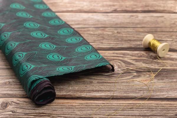 handgeschöpftes Geschenkpapier, Pfau aubergine-jade