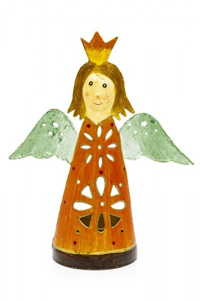 Teelichthalter Engel orange
