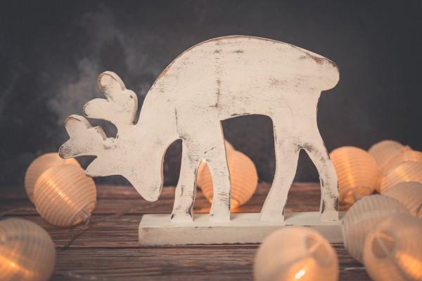 Deko Rentier 32cm Holz weiß