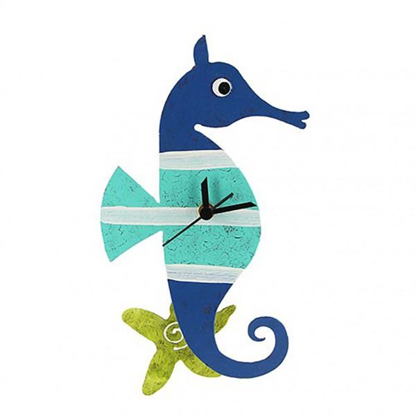 Wanduhr Seepferdchen, blau/türkis mit Seestern als Pendel