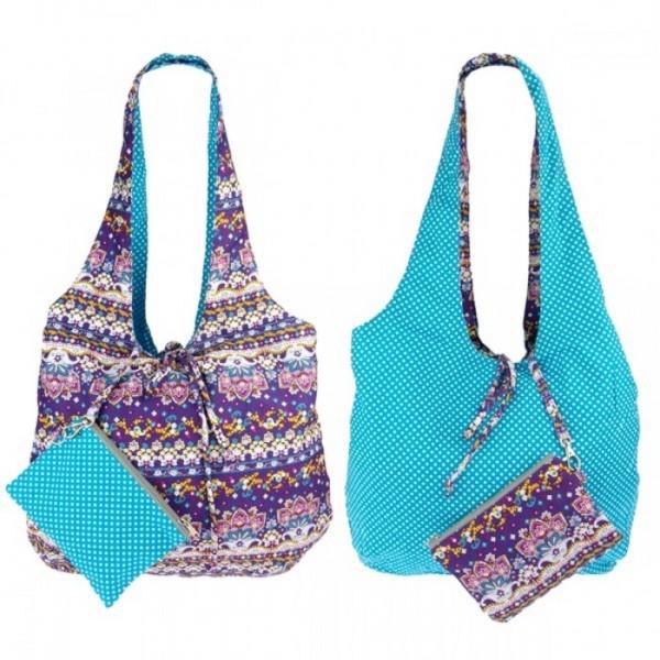 Wendetasche aus Baumwolle mit kleiner Tasche, lila-blau