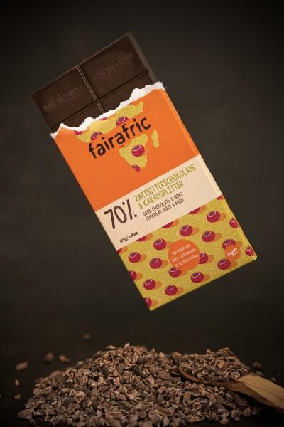 fairafric Bio Zartbitterschokolade Nibs 70% 80g