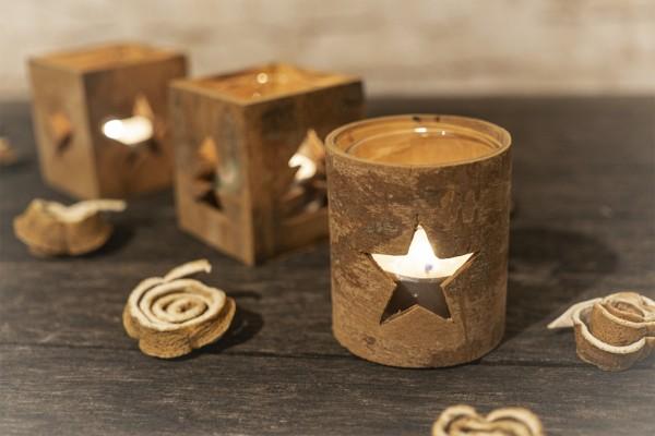 Teelichthalter aus Zimtrinde, Stern rund